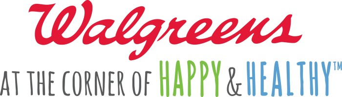 Walgreens logo and slogan - at the corner of happy and health