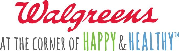 Walgreens logo and slogan - at the corner of happy and health