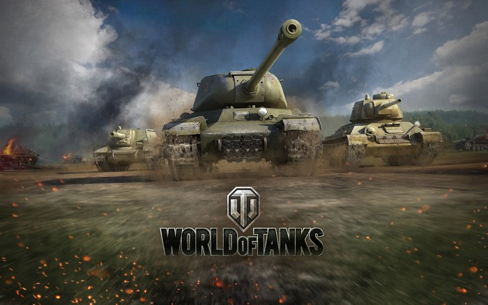 World of tanks - wallpaper with logo and tanks