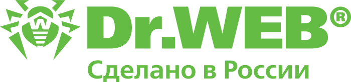 Dr. Web logo, green, made in Russia sign