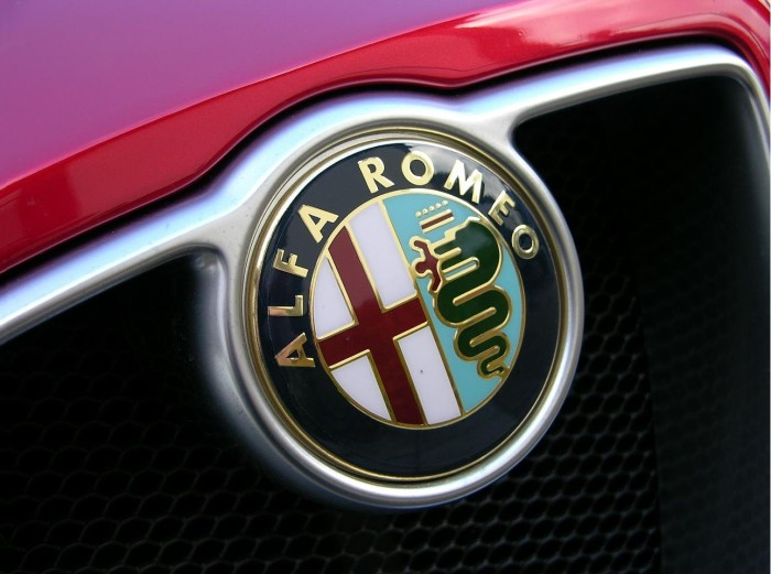 Alfa Romeo logo on the car