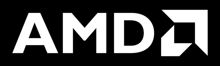 AMD logo, logotype, emblem, black background