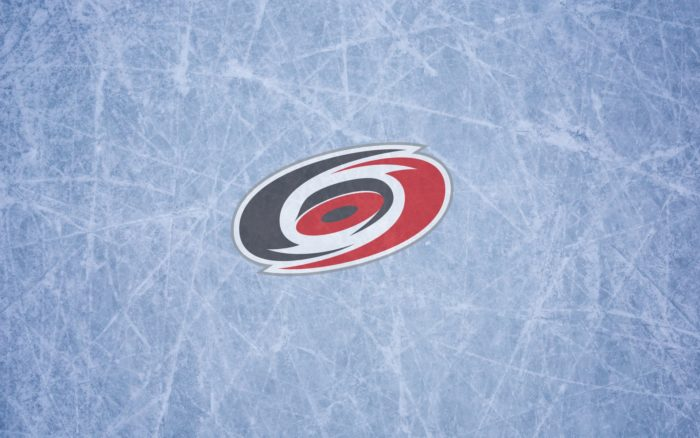 Carolina Hurricanes wallpaper with logo on the ice 1920x1200, 16x10