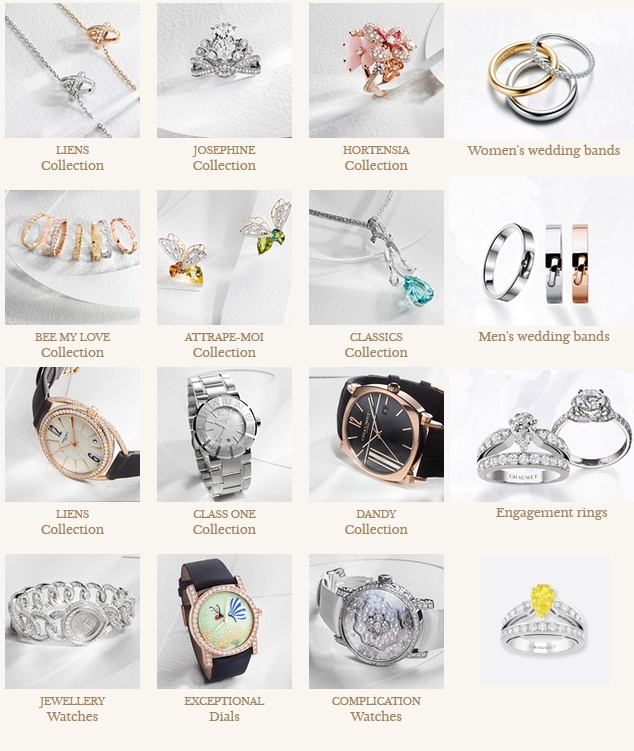 Chaumet jewellry: watches, engagement rings, wedding bands, earrings, pendants