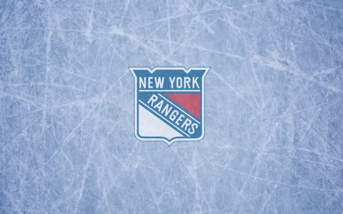 New York Rangers wallpaper with logo on the ice 1920x1200, 16x10