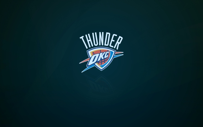 Oklahoma City Thunder wallpaper and logo with shadow, widescreen 1920x1200px