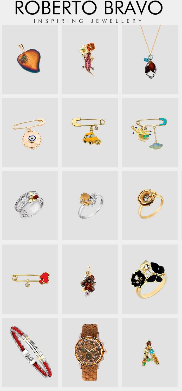 Roberto Bravo jewelry - rings, pendants, broches, bracelets. watches