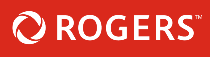 Rogers logotype, red bg