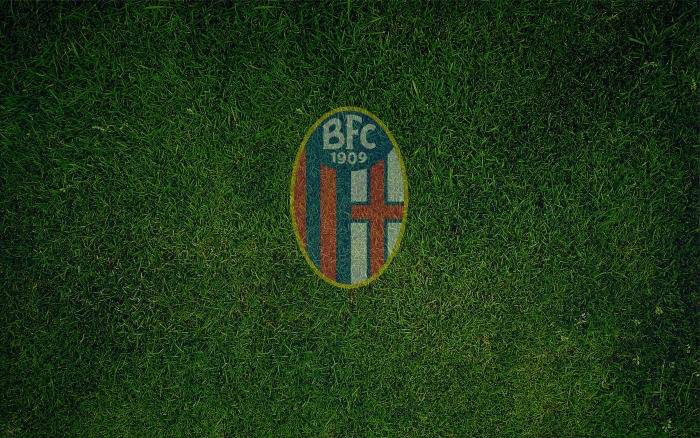 Serie A club Bologna FC wallpaper, logo on the grass - 1920x1200px