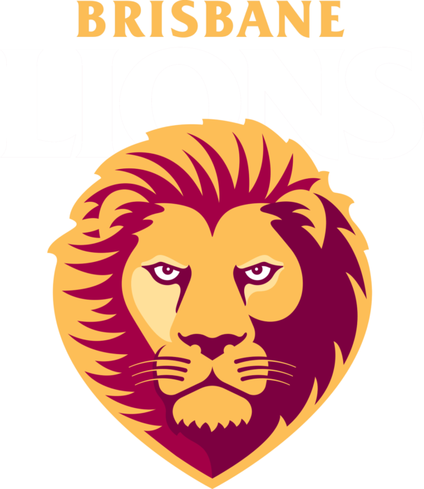 Brisbane Lions logo, white letters - transparent background