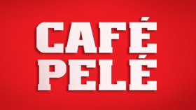 Cafe Pele logo, red bg