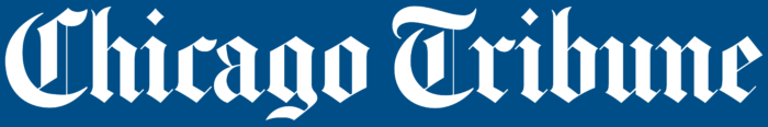 The Chicago Tribune logo, blue background