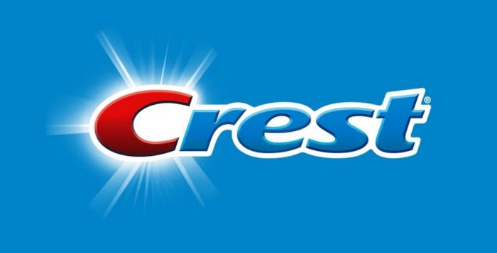 Crest logo, logotype, emblem, blue bg