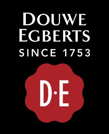Douwe Egberts DE logo, wordmark, black bg