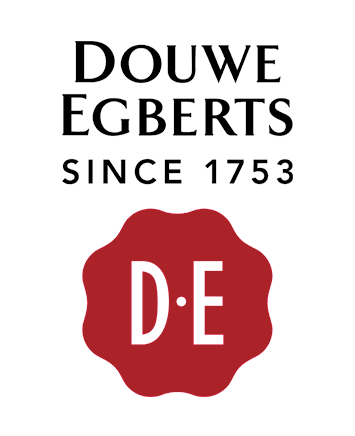 Douwe Egberts logo, wordmark, white bg
