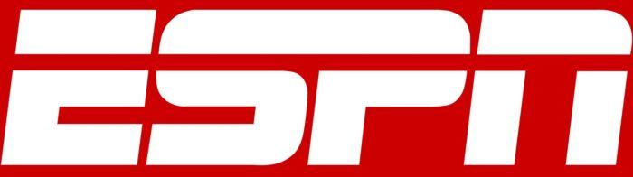 ESPN logo, red bg
