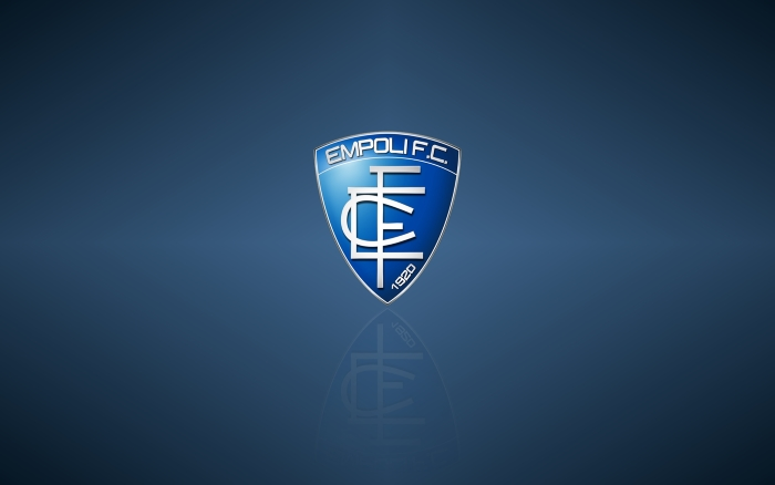 Empoli FC wallpaper with logo, blue background 1920x1200px