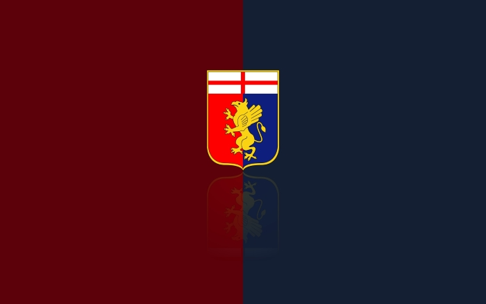Genoa CFC wallpaper with logo, blue-red background 1920x1200px
