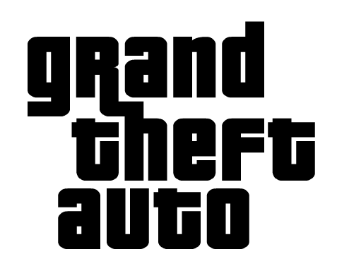 Grand Theft Auto GTA logo, black
