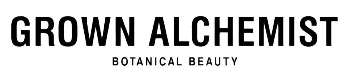 Grown Alchemist logo, logotype, white