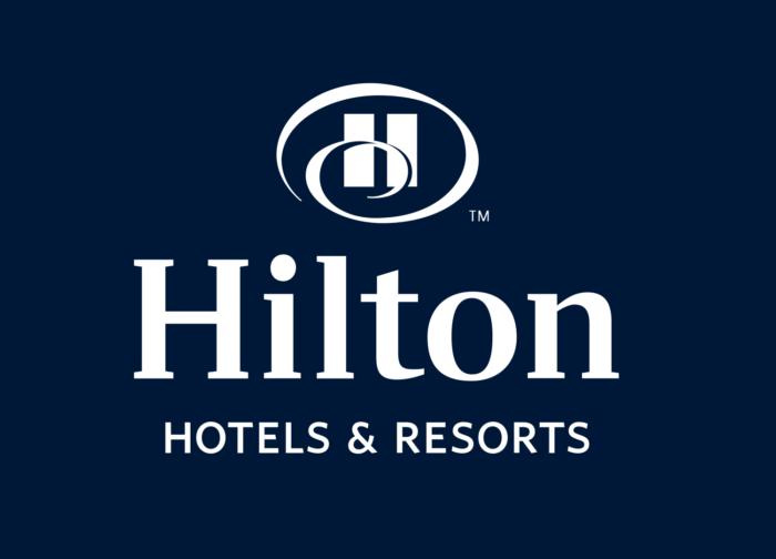 Hilton logo, blue background