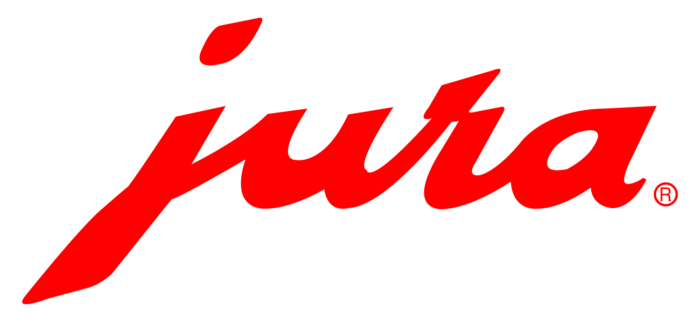 Jura logo, red, bright