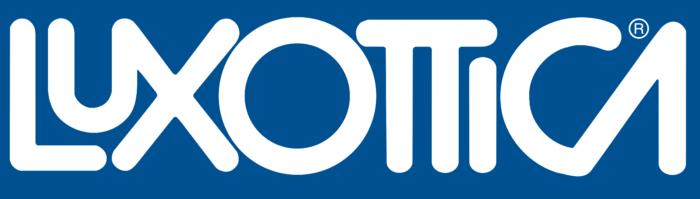 Luxottica logo, blue background