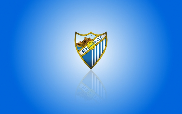 Málaga CF wallpaper with club logo, widescreen blue background - 1920x1200
