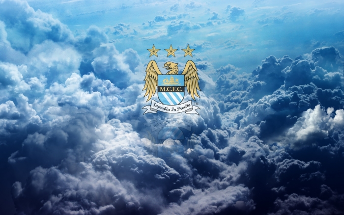 Manchester City wallpaper with club crest in the clouds - 1920x1200