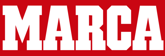 Marca logo, white, red background