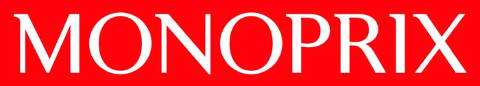 Monoprix logo, red background