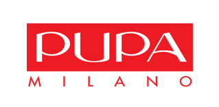 Pupa Milano logo, white-red