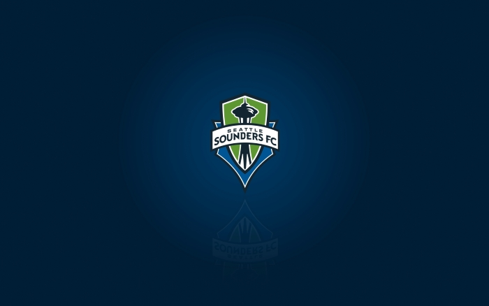 MLS club Seattle Sounders FC - desktop wallpaper with logo, widescreen blue background 1920x1200 px