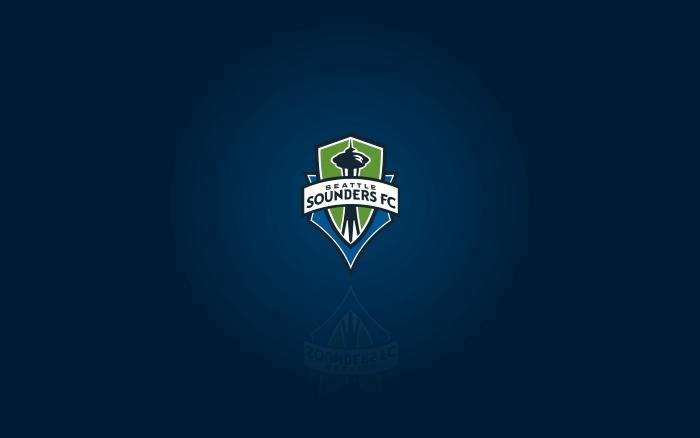 MLS club Seattle Sounders FC - desktop wallpaper with logo, widescreen blue background 1920x1200 px