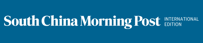 South China Morning Post logo, blue, international