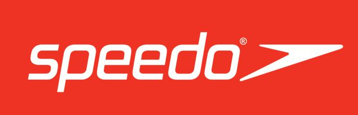 Speedo logo, red bg