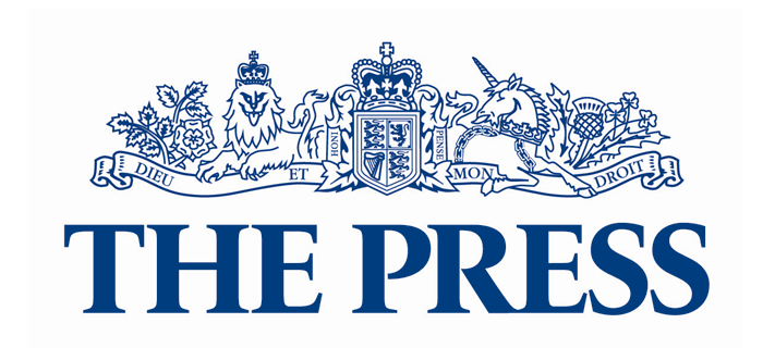 The Press logo, emblem, blue
