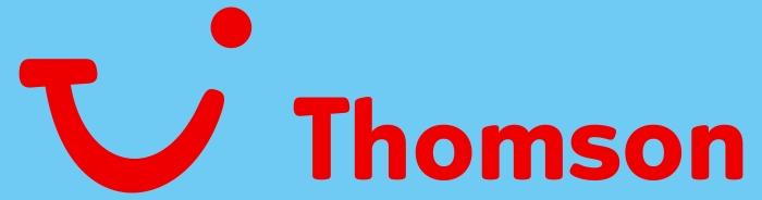Thomson logo, blue bg