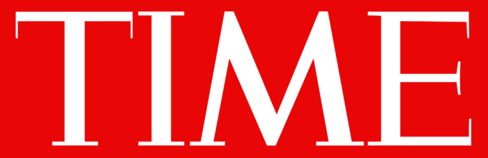 Time Magazine logo, red bg
