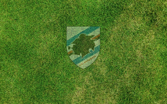 U.C. Sampdoria wallpaper with club logo on the grass, widescreen desktop background - 1920x1200