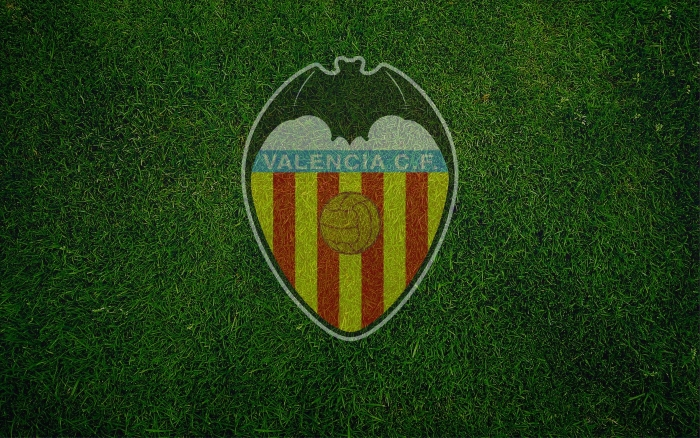 Valencia CF wallpaper with logo (logotipo), wide desktop backgorund 1920x1200px