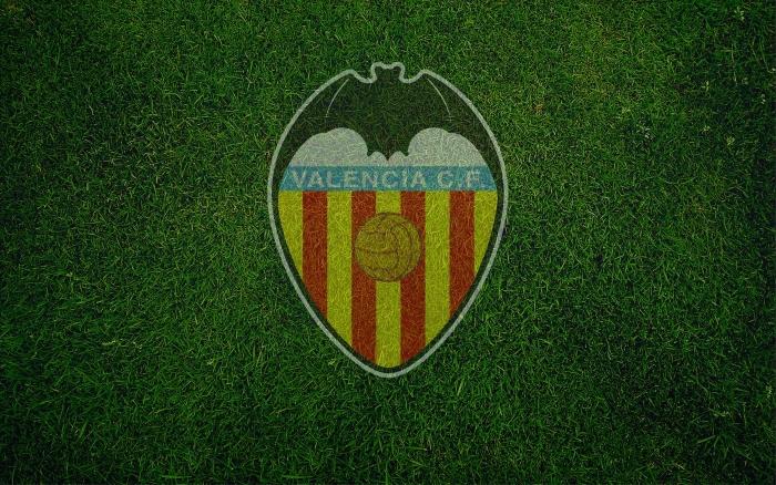 Valencia CF wallpaper with logo (logotipo), wide desktop backgorund 1920x1200px