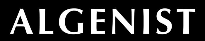 Algenist logo, black bg