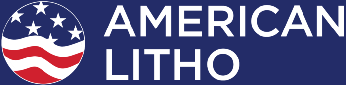 American Litho logo, blue bg