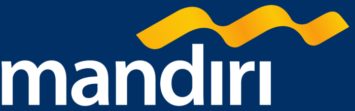 Bank Mandiri logo, blue background