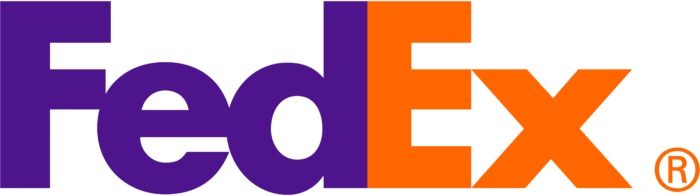 FedEx logo, orange-purple