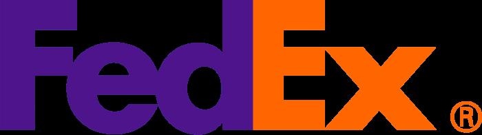 FedEx logo, orange-purple