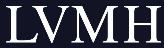 LVMH logo, white, blue background