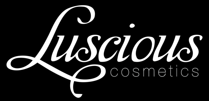 Luscious Cosmetics logo, black background