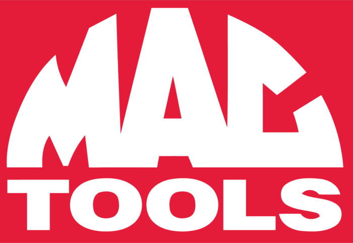 Mac Tools logo, pink-red background